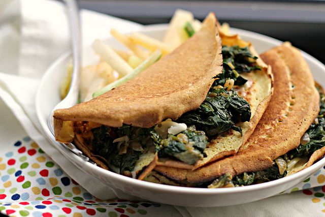 Recipe: Masa Crepes with Chard, Chile and Cilantro