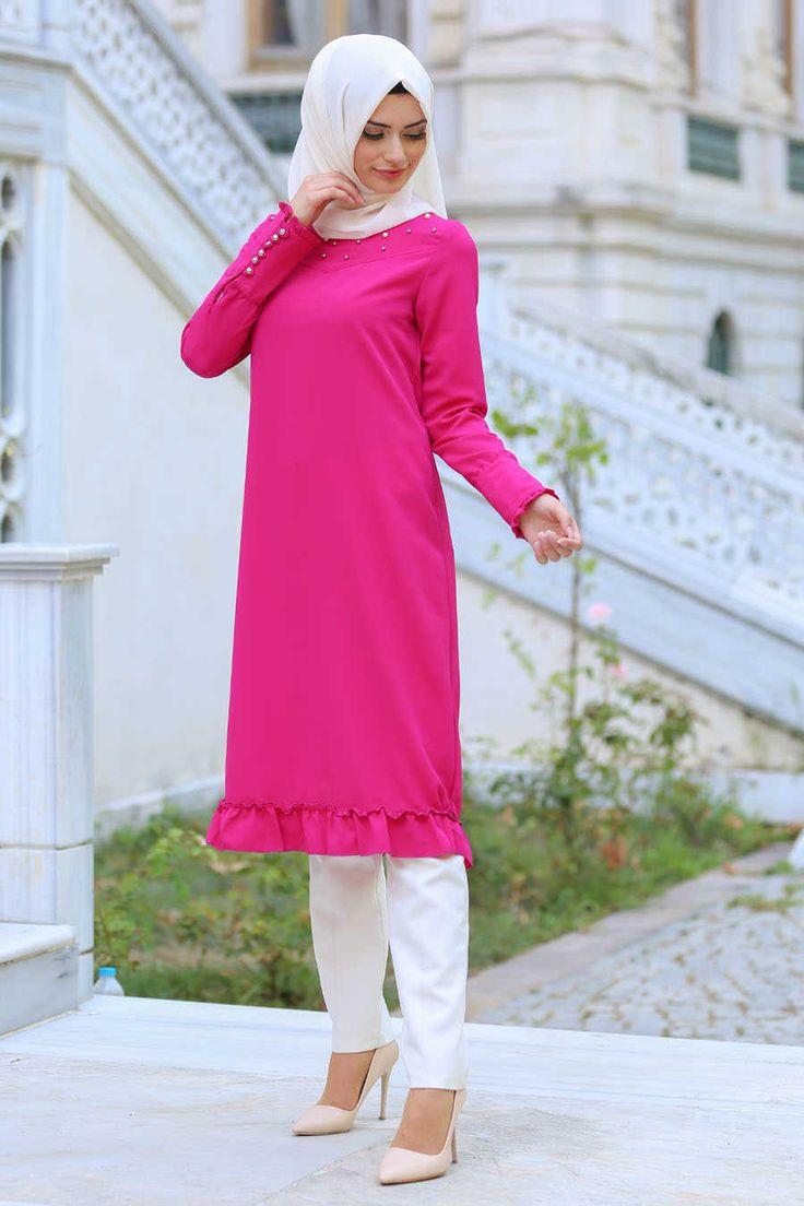 Neva Style - Fuchsia Hijab Tunic 2037F