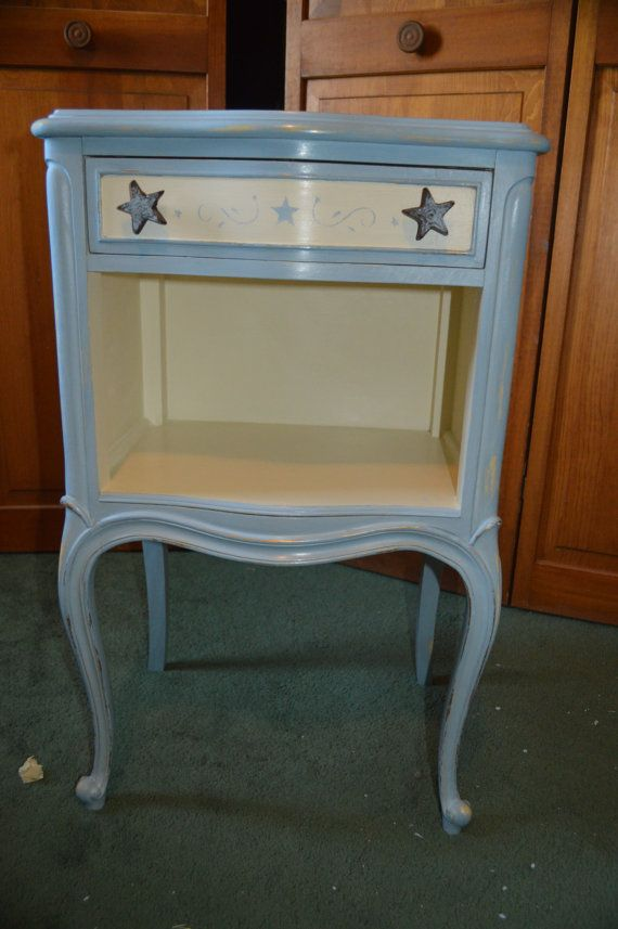 Nite Stand Side Table Blue Rustic Country by HorseCountryDesigns