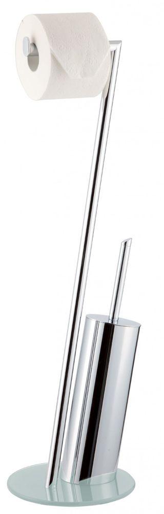 Formschöne WC-Bürstengarnitur aus verchromten Metall mit Bodenplatte aus Sicherheitsglas. Gesehen für € 79,90 bei kloundco.de.