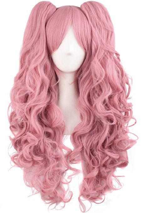 AmazonSmile : MapofBeauty Lolita Long Curly Clip on Ponytails Cosplay Wig (Azure Blue) : Beauty