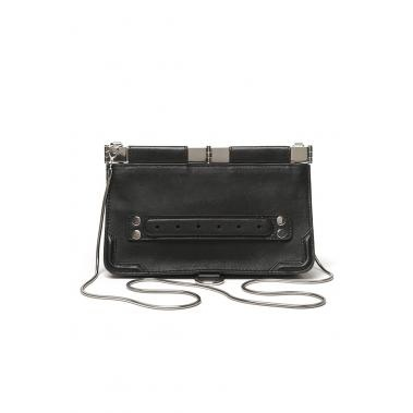 Leather evening clutch with front handle detail, hinged top closure. Optional chain shoulder strap. On sale now!