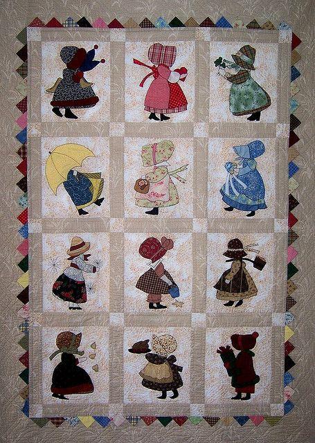 Sunbonnet Sue 12 month calendar quilt by Martys Fiber Musings, via Flickr