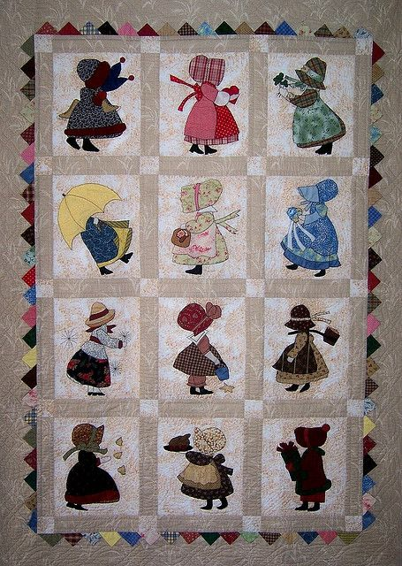 Sunbonnet Sue 12 month calendar quilt by Martys Fiber Musings, via Flickr