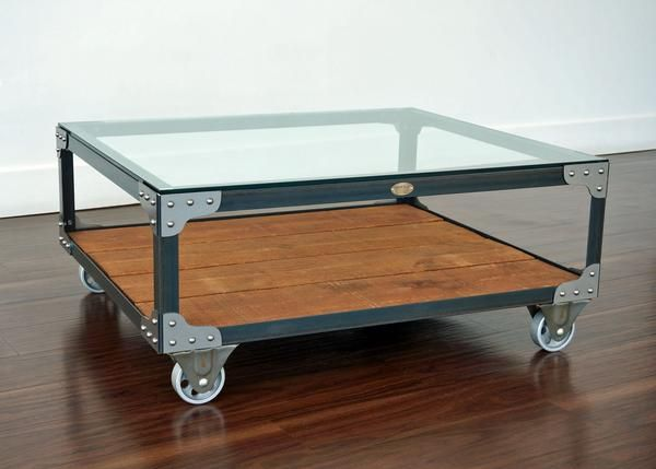 Industrial Coffee Table   Tannery Cart Coffee Table   Featuring A Clear  Coat Steel Finish,