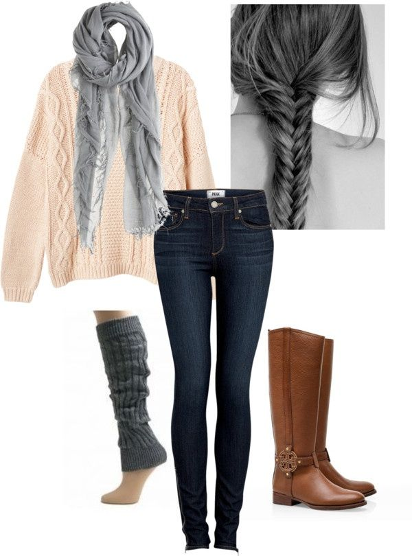 Cute polyvore teen outfit and fashion big sweater and jeans leather