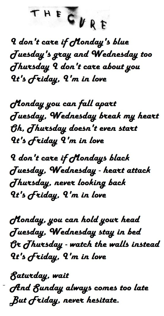Lyric lyrics to i will always love you by the cure : Best 25+ The cure friday ideas on Pinterest | The cure, Lovesong ...