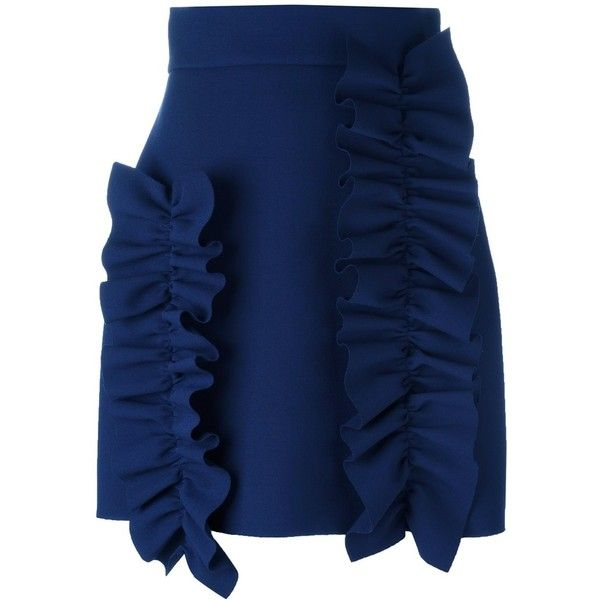MSGM ruffled detail short skirt (€375) ❤ liked on Polyvore featuring skirts, blue, flouncy skirt, ruffle skirt, blue ruffle skirt, frill skirt and frilled skirt