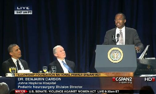 SURPRISE: LIBERAL MEDIA IGNORE CARSON'S AMAZING SPEECH. With all of the buzz surrounding Dr. Benjamin Carson's noteworthy National Prayer Breakfast keynote speech, you'd think it'd be hard for the mainstream media to ignore. But somehow they never cease to amaze…  http://www.theblaze.com/blog/2013/02/08/surprise-liberal-media-ignore-carsons-amazing-speech/#