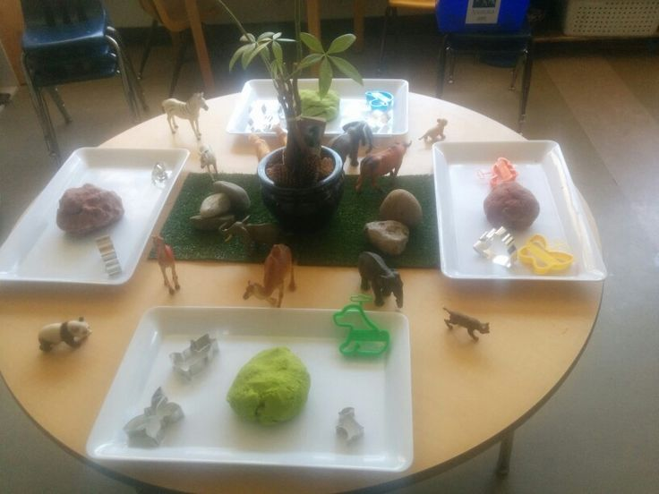 """Sensory play -  """"nature themed with animals, playhouse and variety animal cookie cutters"""""""
