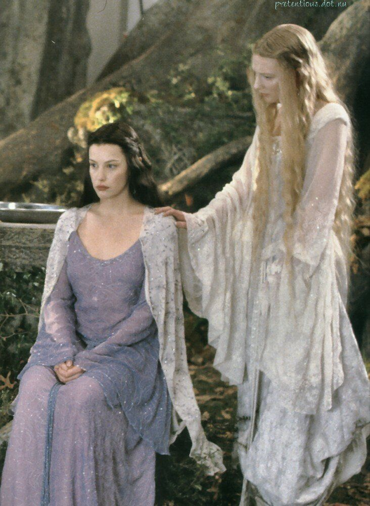 Liv Tyler and Cate Blanchette as Arwen and Galadriel in a cut scene from The Lord of the Rings