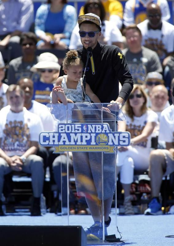 Stephen Curry and daughter Riley at Warriors victory celebration