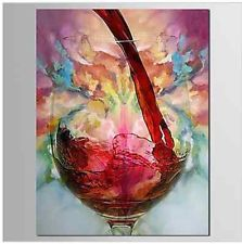 100% Hand Painted Oil Painting on canvas-Still Life Red Wine Abstract (No Frame)