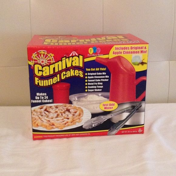 Carnival funnel cakes maker Never used perfect condition funnel cake maker kit includes funnel cake pitcher metal frying ring cooking tongs and a sugar shaker no mix includes instructions on how to use on the back ✅Top rated seller ✅Prices never firm ‼️✅Offers always welcomed ✅Bundled discounts available ✅Fast shipper Other