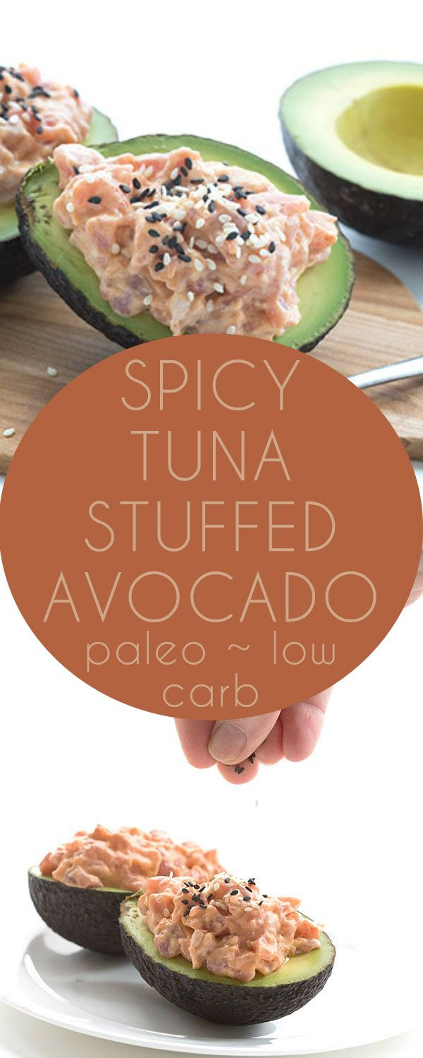 Low Carb Keto Spicy Tuna Stuffed Avocado Recipe. LCHF THM Paleo recipes