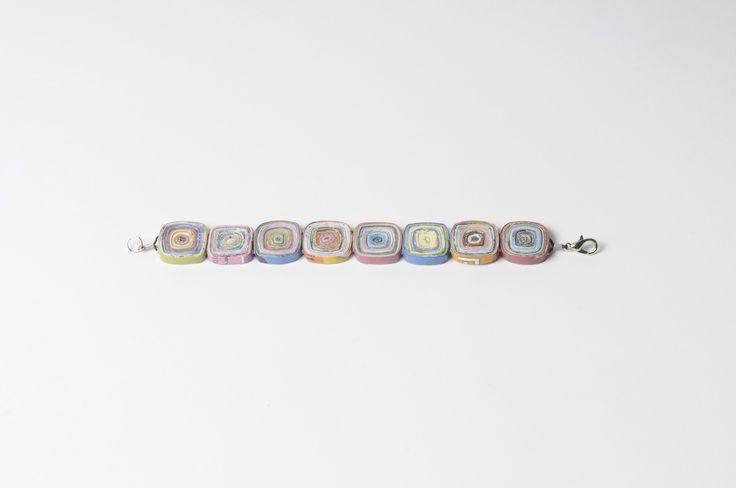 Rolled-paper squares bracelet (S)