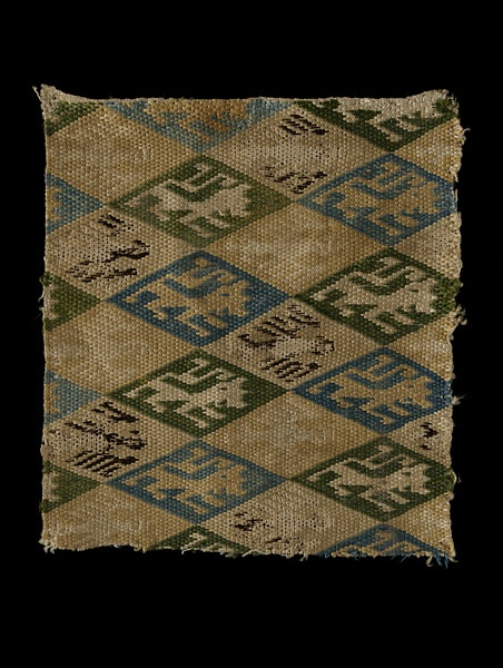 Woven textile fragment, possibly made in either Germany or Spain, woven linen, embroidered in polychrome silks, circa 13th-14th century
