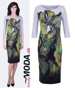 Úpletove šaty do práce zelená potlač- trendymoda.sk