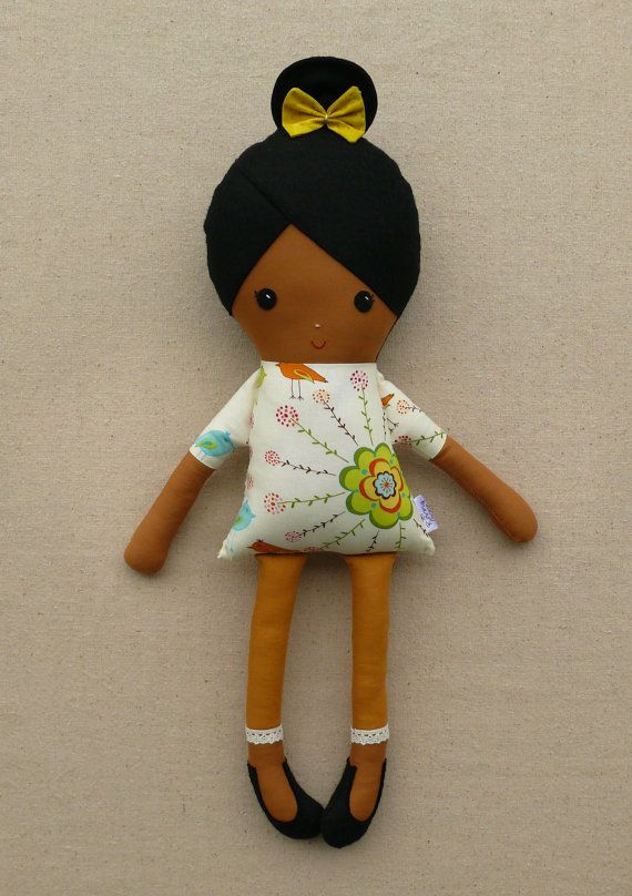 Fabric Doll Rag Doll Girl in Bird Floral Dress...
