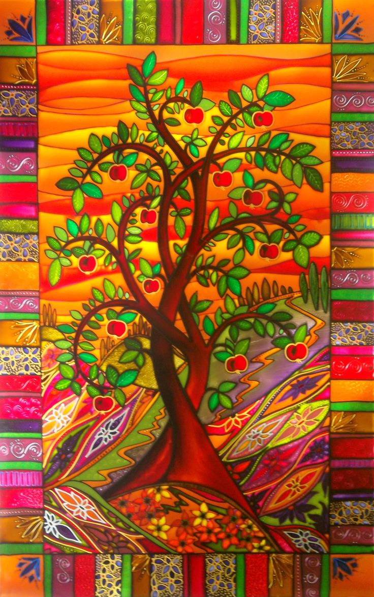 """Deborah Godsall : """" I am really looking forward to seeing this vibrant design fitted into its door frame. The stained glass effect painting of a summer apple tree will look amazing in its new home. debsinledbury@live.co.uk """""""