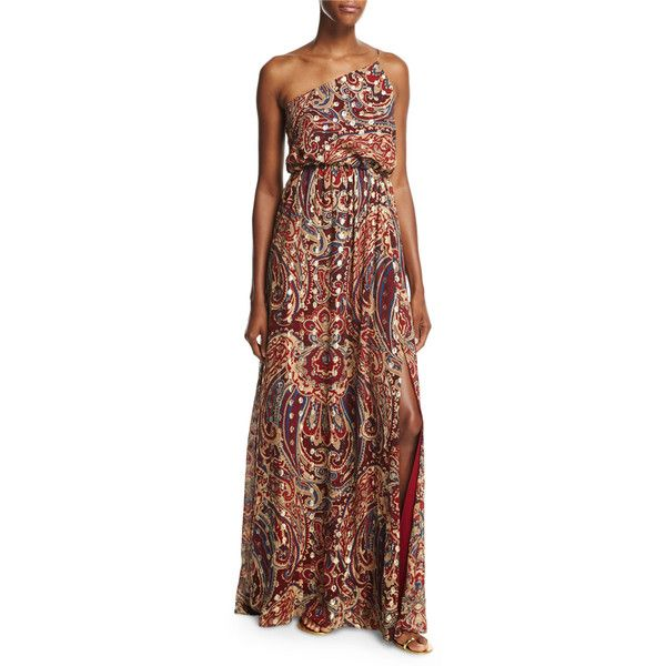 Haute Hippie Silk One-Shoulder Paisley Column Gown ($477) ❤ liked on Polyvore featuring dresses, gowns, kennedy metallic, brown maxi dress, maxi dresses, maxi gowns, one shoulder evening dresses and blouson maxi dress