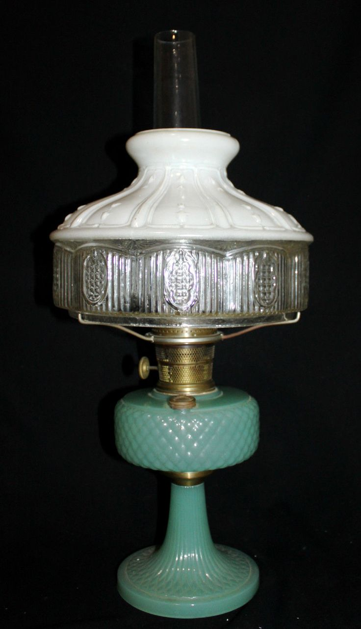 70 best aladdin lamps images on pinterest aladdin vintage lamps antique aladdin green moonstone quilt kerosene lamp model b with shade h0 geotapseo Image collections