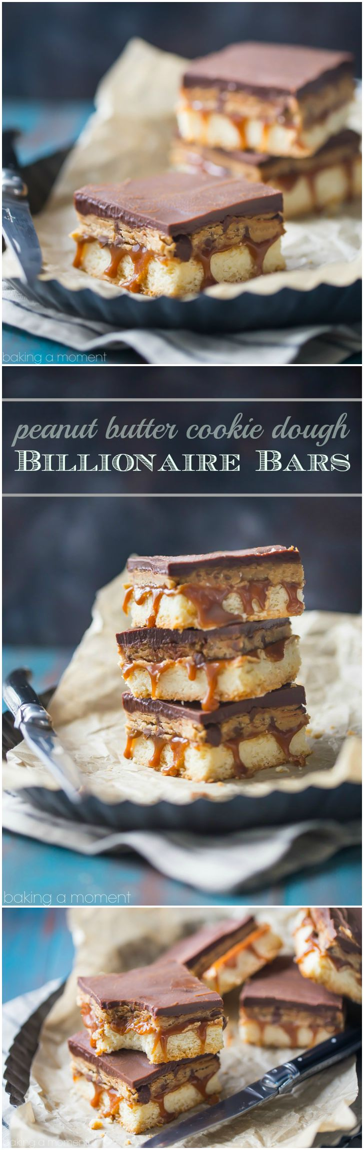 Peanut Butter Cookie Dough Billionaire Bars- buttery shortbread topped with gooey caramel, peanut butter cookie dough, and chocolate ganache. Swoon!