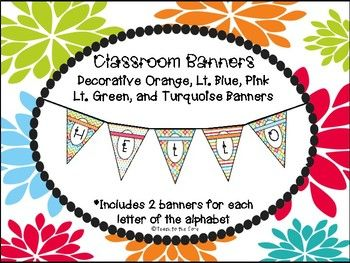 Perfect for centers, welcome banner, or any other banner you wish to have in your classroom! Great for all grade levels!Spell out anything you'd like! This pack includes 2 banners for each letter, as well as 6 blank banners that you can use to create with your own handwriting or to glue on a picture.Just print on white cardstock, punch two holes in each corner and string together to display!Be sure to rate this product and follow us!