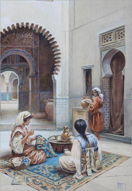 *Courtyard of a Moorish House-by-Vittorio-Rappini*
