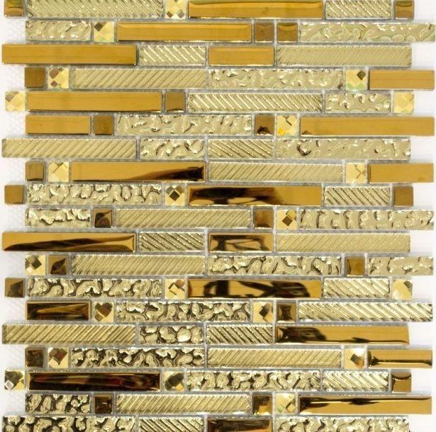 Mosaiksteine Mosaikfliese Verbund Glasmosaik gold   - Art: 86-0107_f