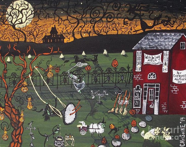Ghost Painting - Halloween At The Witching Hour by Christine Janeway