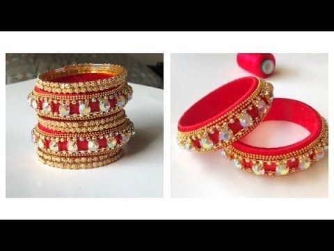 How to make designer bangles||silk thread bangles with stone chain and b...