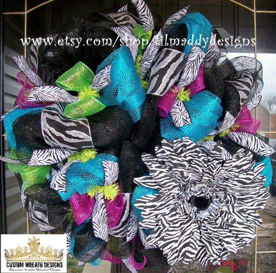 Turquoise and Black Zebra Wreath by lilmaddydesigns on Etsy, $95.00