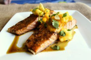 ... | Healthy salmon recipes, Grilled salmon and Mango pineapple salsa