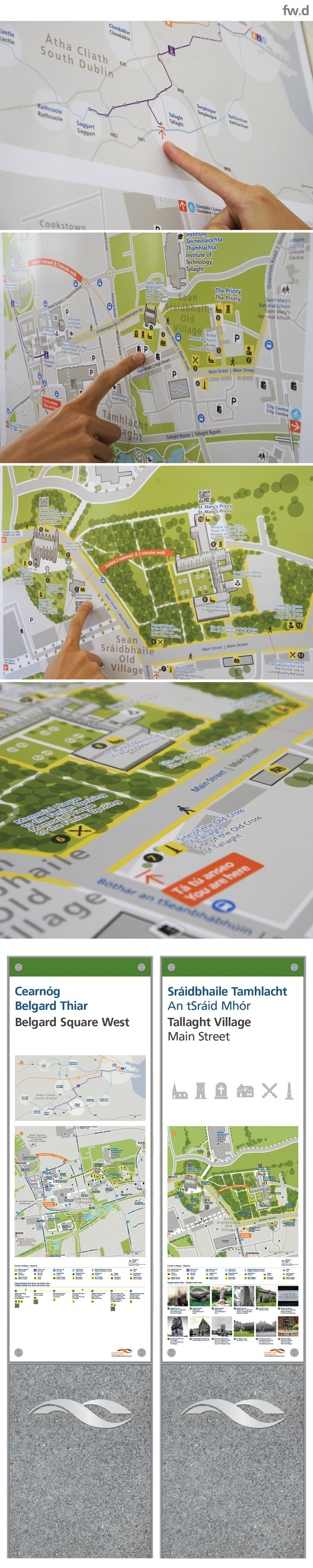 Seamless integration of heritage destination information within pedestrian wayfinding map designs, by fwdesign. Client: South Dublin County Council.