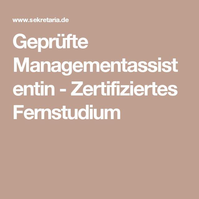 Geprüfte Managementassistentin - Zertifiziertes Fernstudium