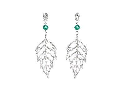 Cathy Waterman Skeleton Leaf Earrings With Emeralds