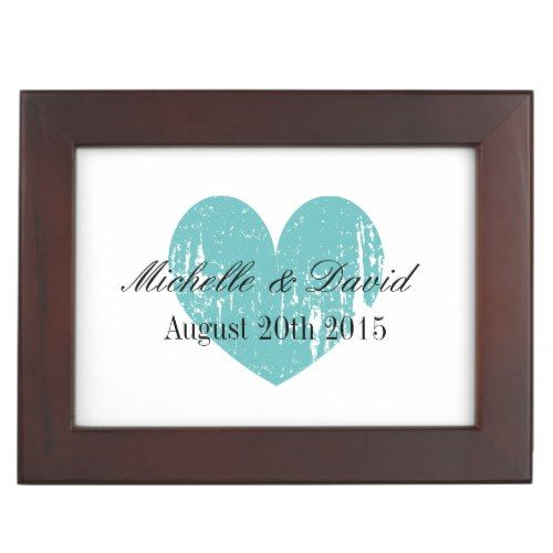 Romantic wedding keepsake box with vintage heart