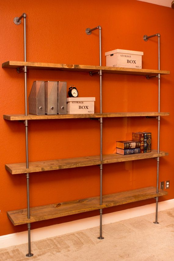 "Industrial Modern Pipe Shelving Unit Furniture- 36""Wx60""H Industrial storage shelving unit wall shelf bookcase with optional reclaimed wood"