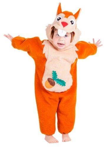 Pluche eekhoorn pakje voor peuters. Bruin eekhoorn pakje van pluche materiaal, geschikt voor kinderen rond 18 maanden.