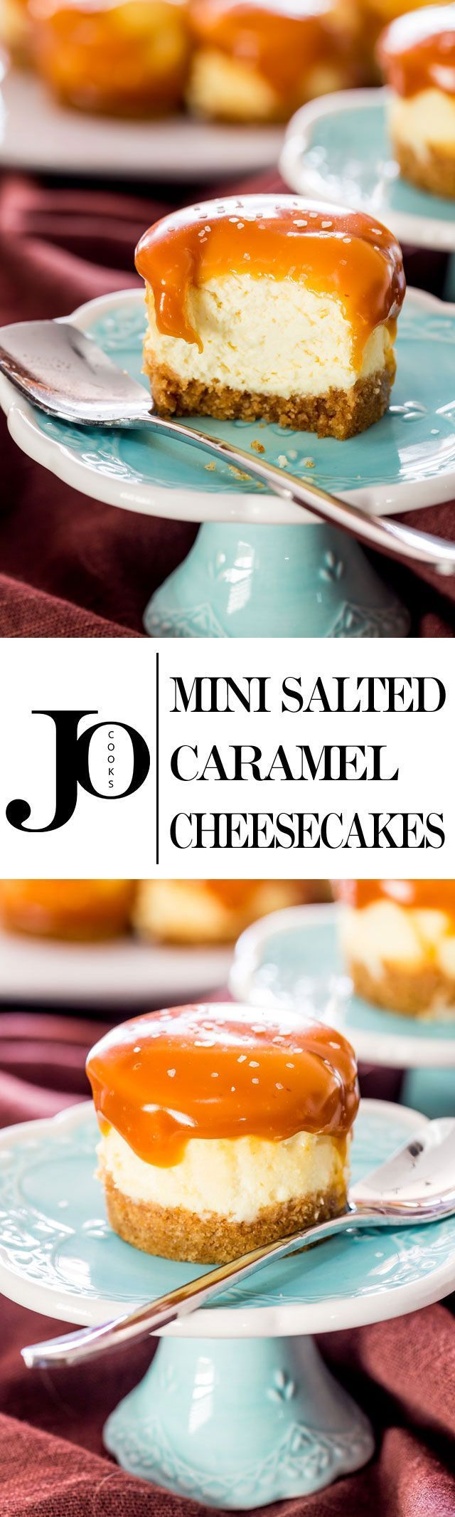 Mini Salted Caramel Cheesecakes - creamy bite-sized cheesecakes with a graham cracker crust and topped with a delicious salted caramel sauce