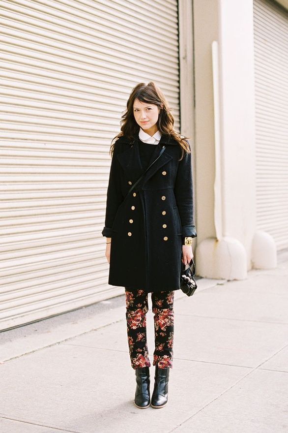 : Vanessa Jackman, Fashion Week, Street Style, Floral Prints Pants, Jackets, New York Fashion, Floral Pants, Floral Jeans, Coats