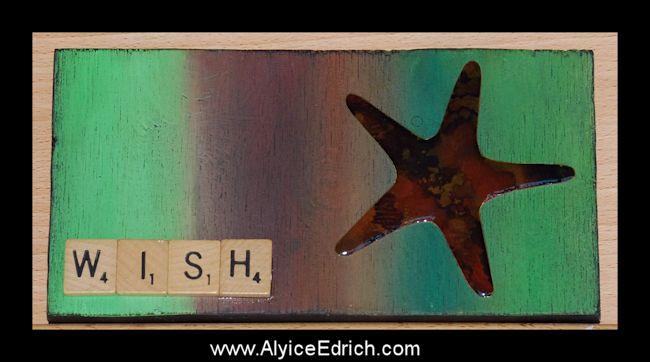 Alyice Edrich - circa 2016 - Wood scrap, handpainted paper, scrabble letters, and acrylic paints #scrapwood #woodcrafts #scrabbleletters #reclaimedwood #recycledwood #upcycledart