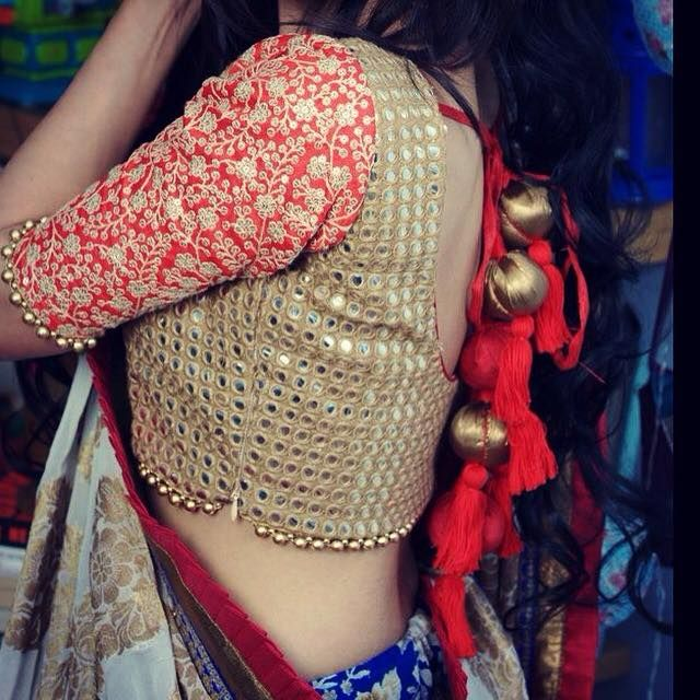 Gold Mirror Work #Blouse With Red Embroidered Sleeves By Ayush Kejriwal.