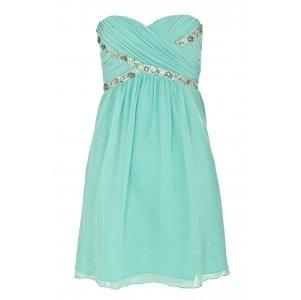 Turquoise Chiffon Cross Over Embellished Dress