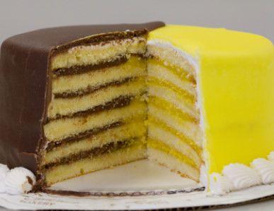 Doberge Cake; New Orleans, USA | dessert pudding half chocolate, half lemon
