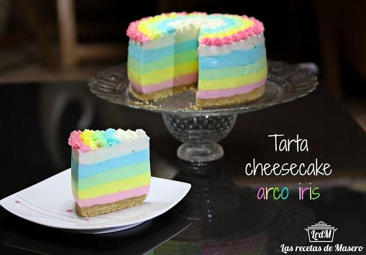 Tarta de queso  arco iris, sin horno