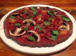 Paleo pizza (using cauliflower pizza crust)