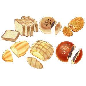 菓子パンが あんパン2種類、かにパン、メロンパン2種類 欧州のパンが カイザーゼンメル、クッペ、グリッシーニ、クロワッサン、ブール その他が カレーパン、カレリアンピーラ...