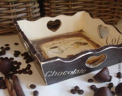 """Кухня ручной работы. Ярмарка Мастеров - ручная работа Поднос """"Coffe&Chocolate"""". Handmade."""